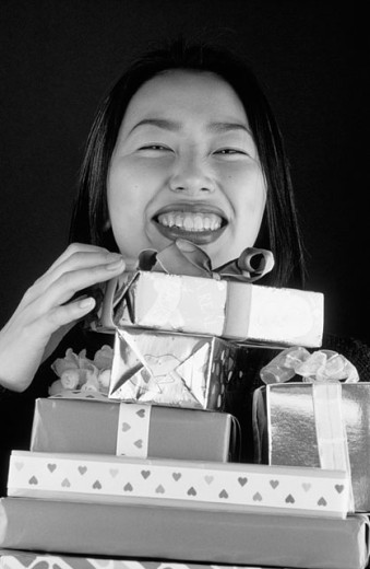 Korean woman with gifts : Stock Photo