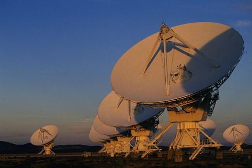 Stock Photo: 1566-028626 VLA (Very Large Array) Radio Telescope. New Mexico. USA