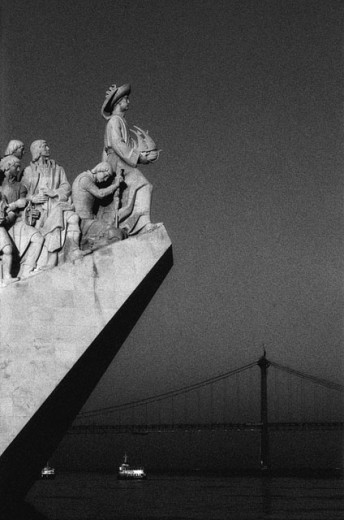 Monument to the Discoveries and river Tage. Lisbon. Portugal : Stock Photo