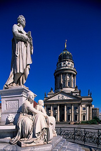 Schiller Statue and French Cathedral. Gendarmenmarkt. Berlin. Germany : Stock Photo