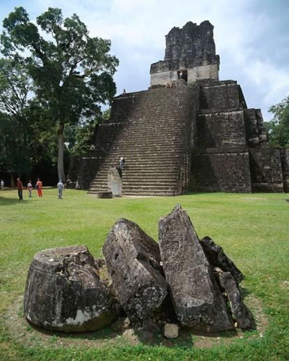 Temple of the Masks (Temple II). Mayan ruins of Tikal. Guatemala : Stock Photo