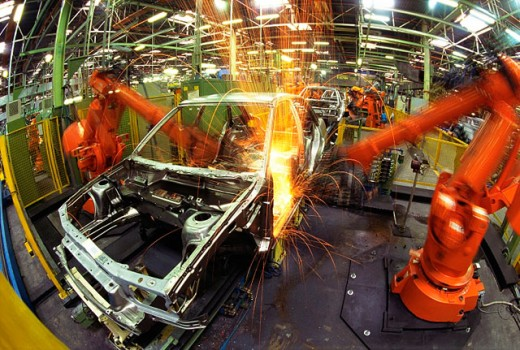 Auto manufacturing plant. Assembly line : Stock Photo