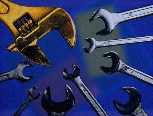 Stock Photo: 1566-031677 Wrench meeting