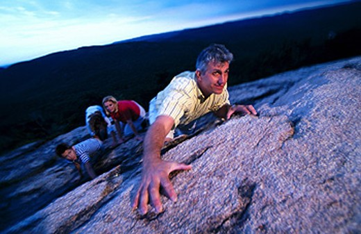 Family climbing : Stock Photo