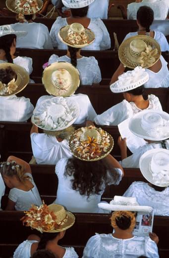 Sunday´s mass. Papeete. Tahiti : Stock Photo