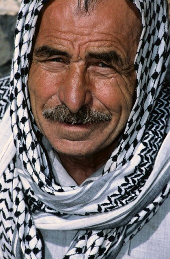 Portrait of a man with kefieh. Hama. Syria : Stock Photo
