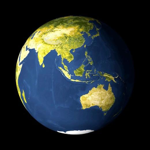 AVHRR satellite image globe showing Austalia, Indonesia, South East Asia and Japan : Stock Photo