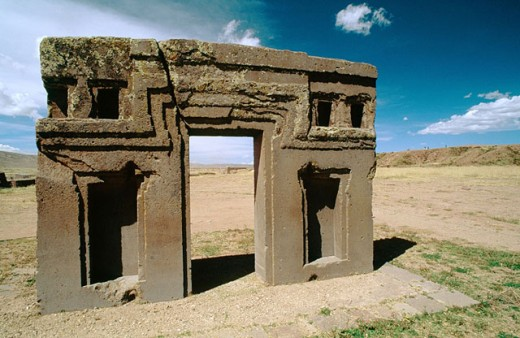 Kalasasaya, Gateway of the Sun. Tiahuanaco ruins. Bolivia : Stock Photo