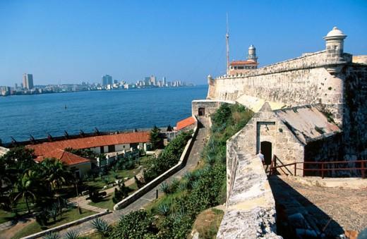 Fortress of El Morro, Havana in background, Cuba : Stock Photo