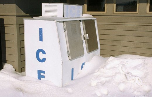 Outdoor ice machine after heavy snow storm. Cape Henlopen State Park. Lewes. Delaware : Stock Photo