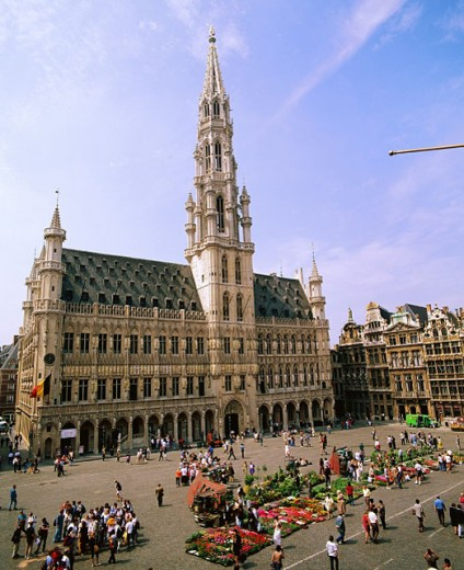 Town Hall at the Grand Place. Brussels. Belgium. : Stock Photo
