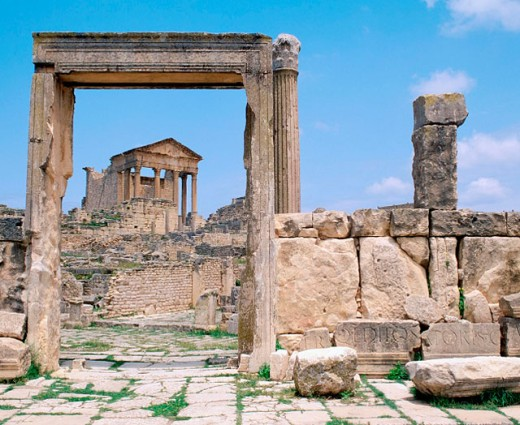 Stock Photo: 1566-046474 Roman ruins. Dougga. Tunisia