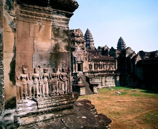 Stock Photo: 1566-046607 Temple complex of Angkor Wat. Angkor. Cambodia