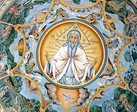 Mural painting at Rila Monastery. Bulgaria : Stock Photo