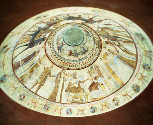 Stock Photo: 1566-046808 Ceiling painting at interior of Thracian burial tomb of an unknown ruler from the 4th or 3rd century BC. Kazanluk. Bulgaria