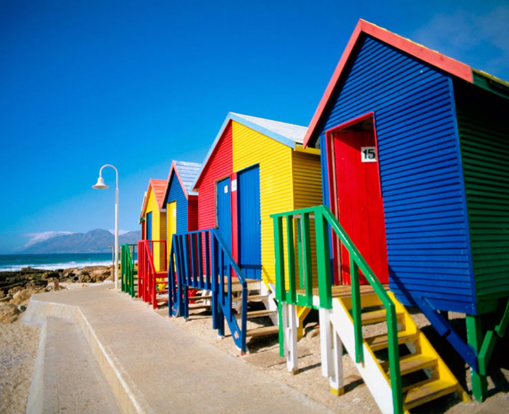 Stock Photo: 1566-046959 Bath houses in Kalk Bay in Cape Town. South Africa