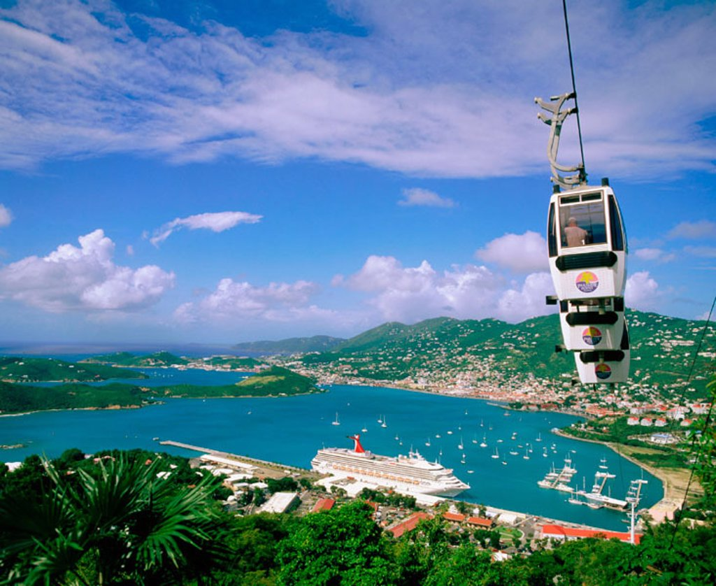 Cable car. Charlotte Amalie. Saint Thomas. U.S. Virgin Islands : Stock Photo