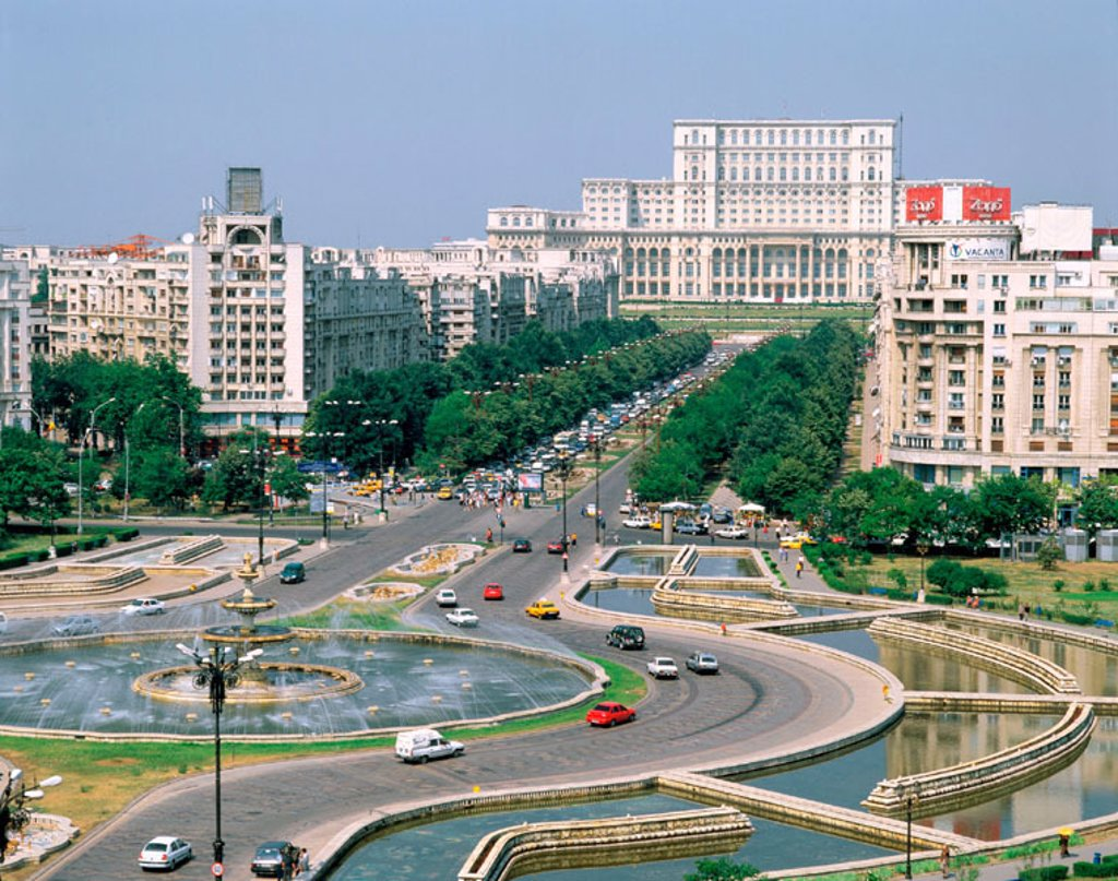 Stock Photo: 1566-047088 Boulevard Unirii and Parliament. Bucharest. Romania