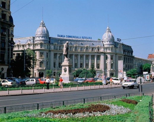 Boulevard Regina Elisabeta and Banca Comerciala Romana building. Bucharest. Romania : Stock Photo