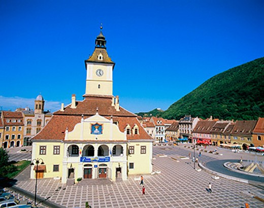 Stock Photo: 1566-047103 Trumpeter´s Tower in Sfatului Square. Brasov. Romania