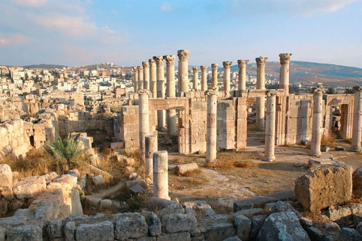 Stock Photo: 1566-048894 Jerash (the ancient Gerasa) archeological site, second to Petra in importance. Jordan
