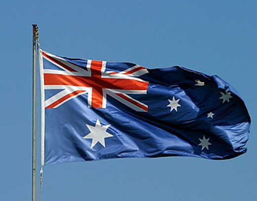 Stock Photo: 1566-048918 Australian flag in Darling Harbour. Sydney. New South Wales, Australia