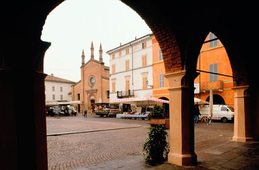 Giuseppe Verdi Square and church of Saint Bartolomeo in background. Busseto. Italy : Stock Photo