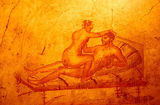 Stock Photo: 1566-049294 Erotic painting in the servants´ quarter. Ruins of House of the Vettii. Pompeii. Italy