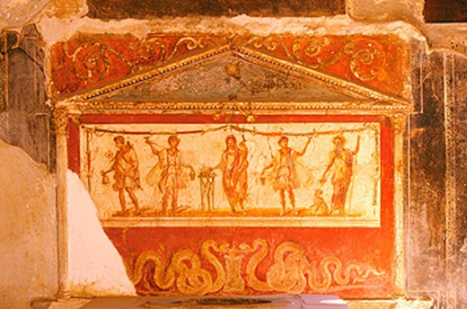 Stock Photo: 1566-049296 Painting at the ruins of the old Roman City. Pompeii. Italy