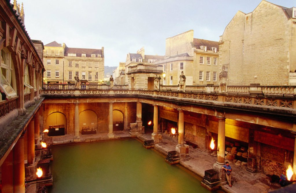 Roman baths. Bath. England : Stock Photo