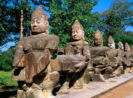 Stock Photo: 1566-051162 Statues at temple complex of Angkor Thom. Angkor. Cambodia