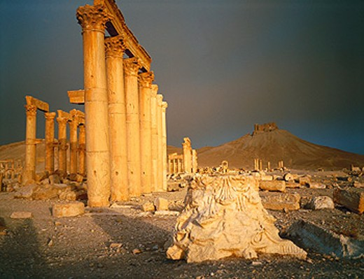 Stock Photo: 1566-051222 Ruins of the Main Street, before a sandstorm. Palmyra. Syria