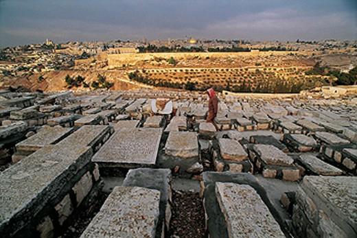 Stock Photo: 1566-051261 Palestinian warden of Mount of Olives. Jerusalem. Israel