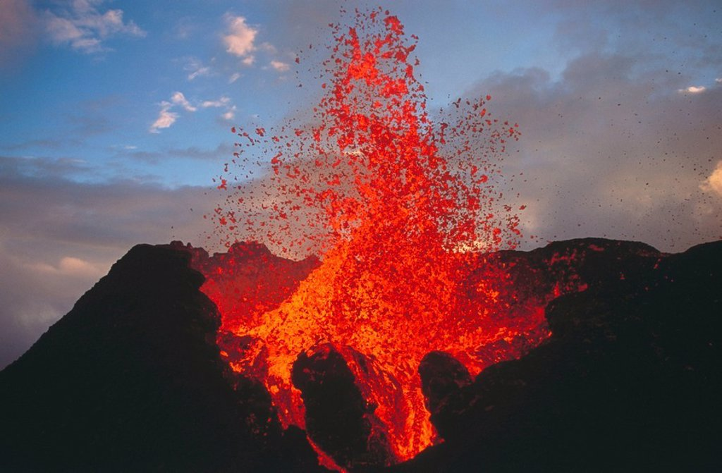 Stock Photo: 1566-051620 Volcano Piton de la Fournaise, 1998 eruption. Reunion Island