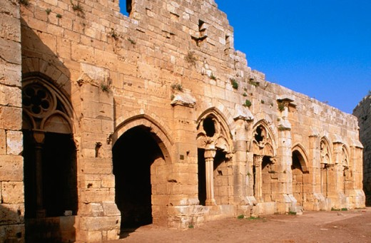 Stock Photo: 1566-051676 Krak des Chevaliers (Castle of the Knights). Qalaat al Hosn. the gothic church in the castle yard. Syria