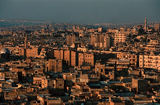 Overview from the citadel at dusk. Aleppo. Syria : Stock Photo