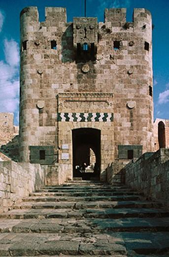 Main citadel entrance. Aleppo. Syria : Stock Photo