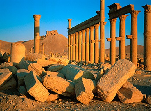 Ruins of the old Greco-roman city of Palmira at sunrise. Syria : Stock Photo