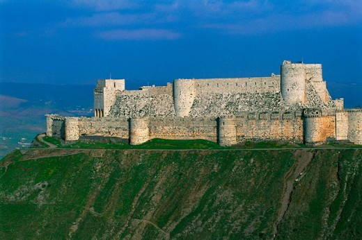 Krak des Chevaliers (Castle of the Knights). Qalaat al-Hosn. Syria : Stock Photo