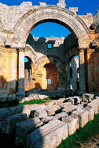 Ruins of the Basilica of St. Simeon near Aleppo. Syria : Stock Photo