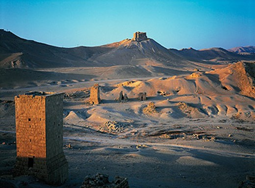 Stock Photo: 1566-051871 Ancient graves in stone towers. Palmyra. Syria
