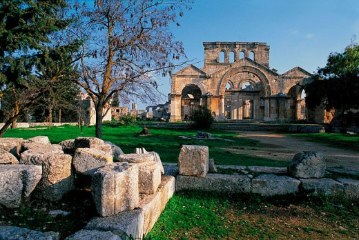 Ruins of the Basilica of Saint Simeon. Syria : Stock Photo