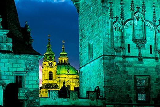 Stock Photo: 1566-052063 Tower of Mala Strana bridge and domes of St. Nichola´s church. Prague. Czech Republic