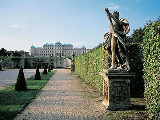 Belvedere Castle and gardens at sunrise. Vienna. Austria : Stock Photo