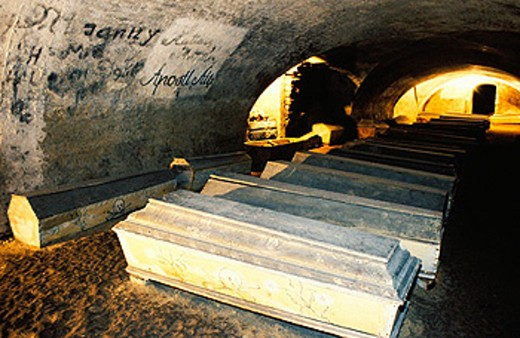 Coffins in the St. Michael´s church crypt. Vienna. Austria : Stock Photo