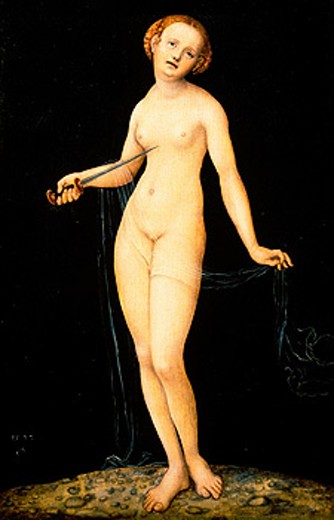 Stock Photo: 1566-052162 ´Lucretia´ by Lucas Cranach the Younger. Akademie Gallery. Vienna. Austria