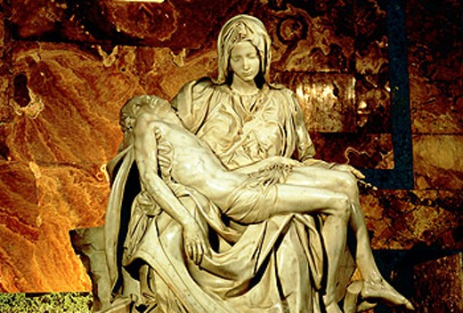 ´Pietà´, marble sculpture by Michelangelo (1499). St. Peter´s Basilica, Vatican City. Rome. Italy : Stock Photo