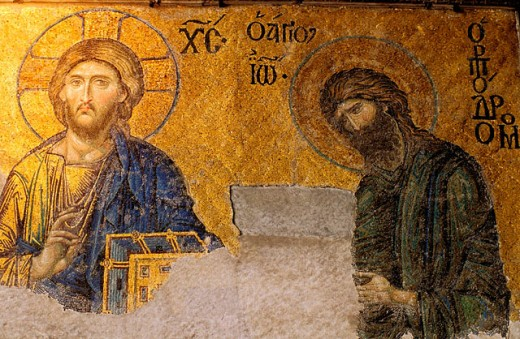 Stock Photo: 1566-052390 Pantocrator and Saint John the Baptist, mosaic decoration. St. Sophia mosque. Istanbul. Turkey