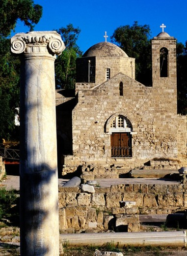 Stock Photo: 1566-052480 Early Christian basilica ruins and Panayia Chrysopolitissa church. Paphos. Cyprus