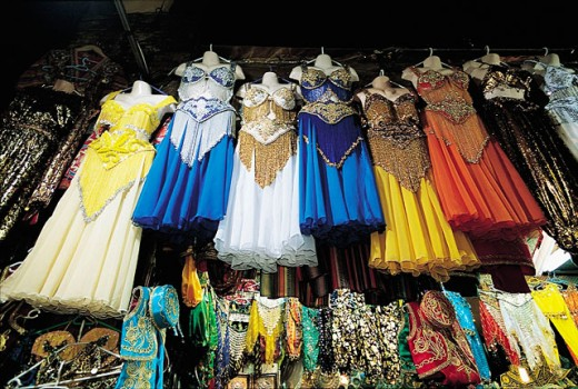 Stock Photo: 1566-052556 Belly dancers dresses and souvenirs at Egyptian bazaar. Istanbul. Turkey